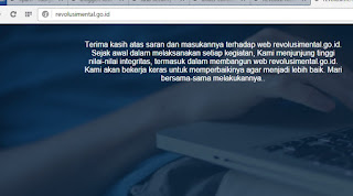 Website Revolusi Mental Baru Publish sudah Under Construction