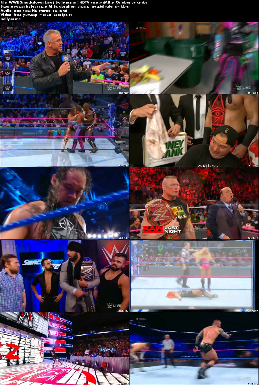 WWE Smackdown Live HDTV 480p 350MB 24 October 2017 Download