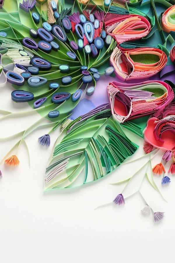 detail of colorful on-edge paper flowers and leaves