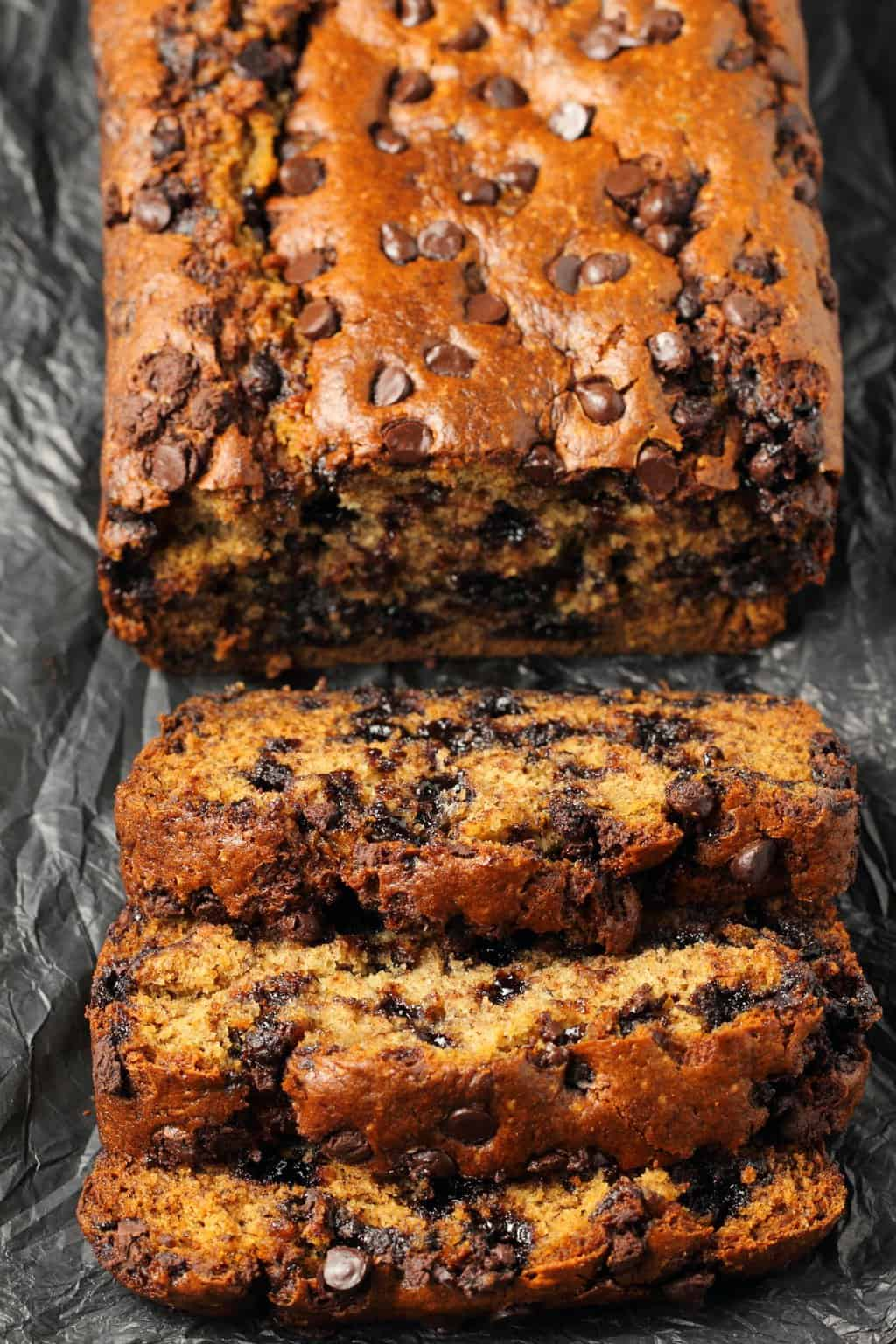 Chocolate Chip Banana Bread - Vegan chocolate chip banana bread that is perfectly moist, rich, deliciously sweet and packed with banana flavor! Ideal for dessert or breakfast!