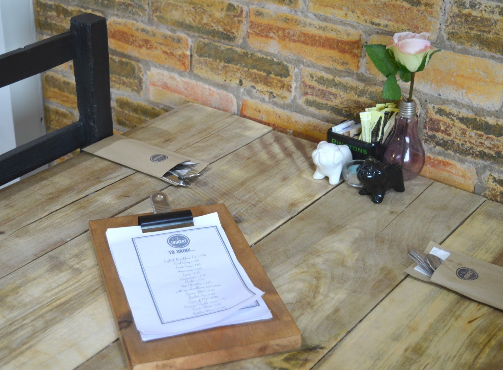 Joinery Workshop and Tearoom, Burnopfield Menu
