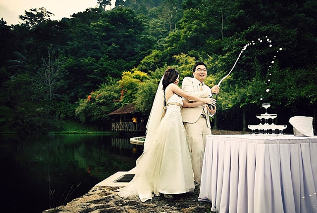 beside lake garden wedding