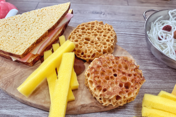 pretend crumpets made from sponges