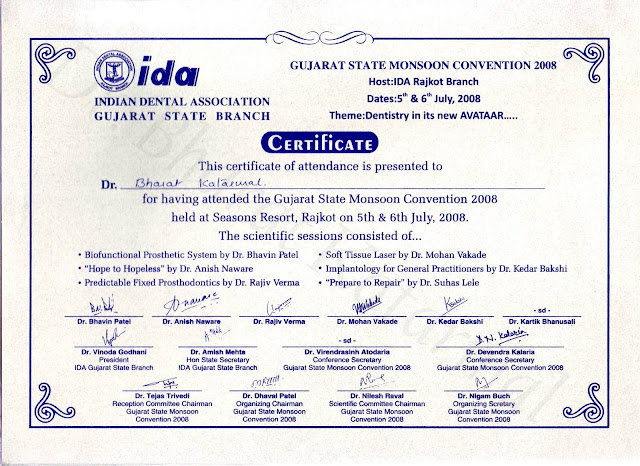 Certificate Awarded to Dr. Bharat Katarmal for attending Gujarat State Monsoon Convention 2008 Rajkot