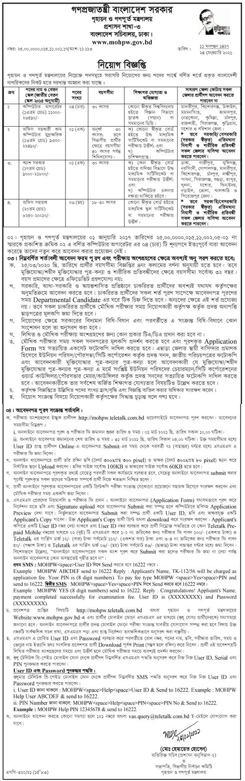 MOHPW Job Circular 2021 গৃহায়ন ও গণপূর্ত মন্ত্রণালয়ে নিয়োগ বিজ্ঞপ্তি প্রকাশ ২০২১ Ministry of Housing and Public Works Job Circular 2021