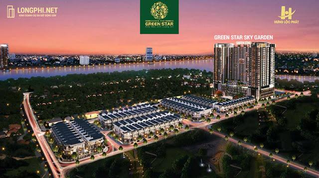 Phối cảnh tổng thể căn hộ Green Star Sky Garden trong khu dân cư Green Star Nguyễn Lương Bằng quận 7.