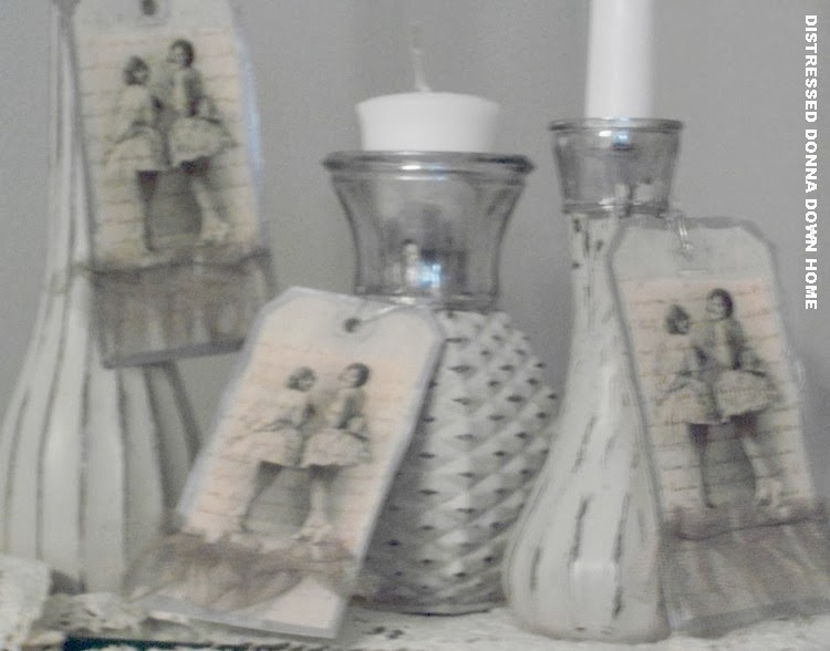 florist vases, recycle, upcycle, candleholder, distressed painting, Looking Glass spray