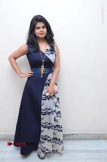 Telugu Actress Alekhya Stills in Blue Long Dress at Plus One ( 1) Audio Launch  0136.jpg