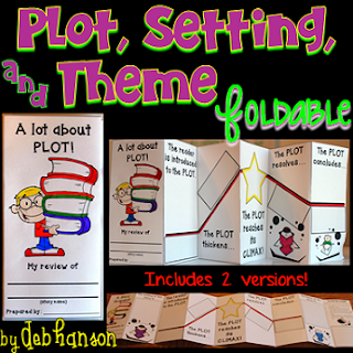 This plot foldable can be used with ANY fiction book! Identify the book's setting, plot, and theme!