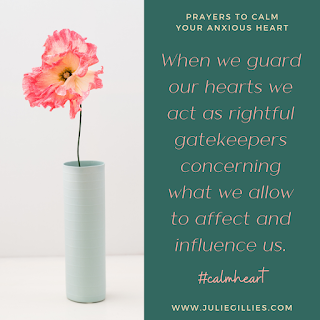 """When we guard our hearts we act as rightful gatekeepers concerning what we allow to affect and influence us. #calmheart """"Keep your heart with all vigilance, for from it flow the springs of life."""" Proverbs 4:23"""