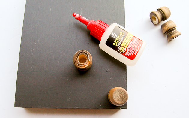 glueing wood caps to tray, dollar tree, farmhouse