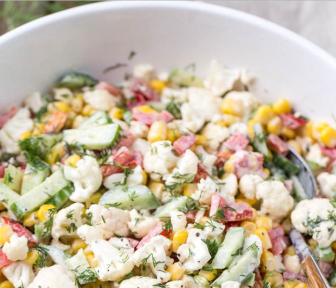 Cauliflower Cucumber Corn Salad #veganrecipe