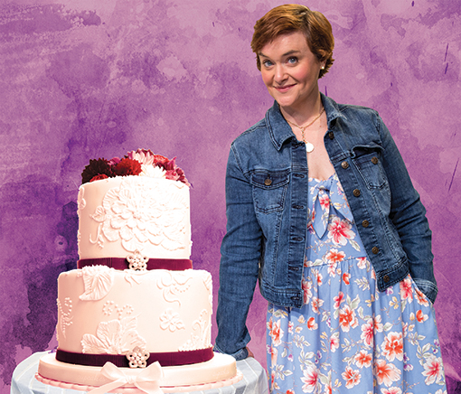 "Jen (Rhyn McLemore Saver) in ""The Cake"" at Horizon Theatre Company"