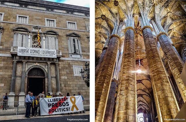 Protesto em Barcelona e o interior da Igreja de Santa Maria del Mar