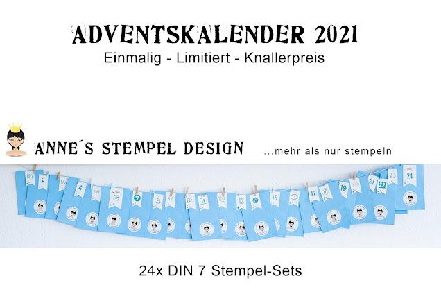 Ein Adventskalender mit 24 Stempel-Sets in dekorativen Tüten verpackt.