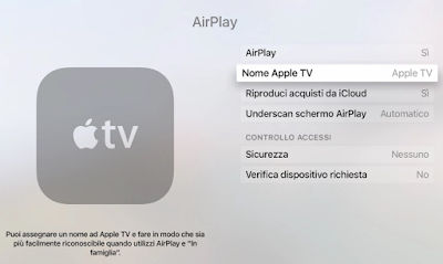 cambiare nome apple tv