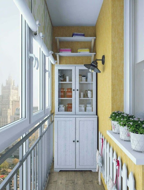 Provence-style curtains for a balcony or loggia
