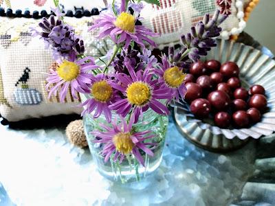 autumn blooms of wild purple asters