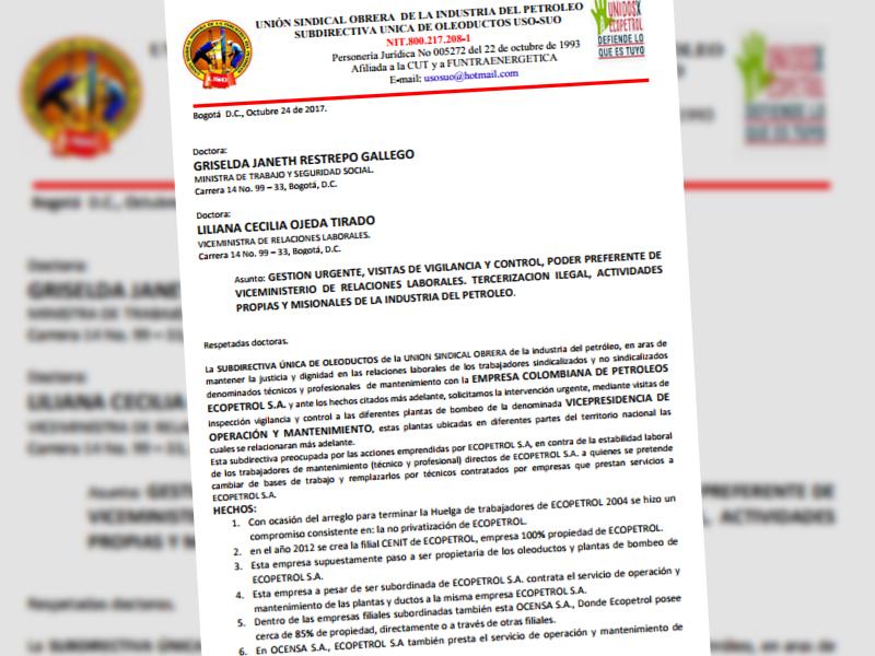 Comunicación a  ministra de trabajo y seguridad social y viceministra de relaciones laborales