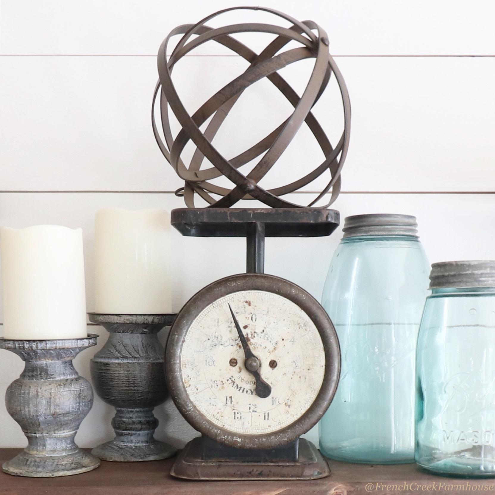 Blue mason jars and a vintage kitchen scale add Americana charm