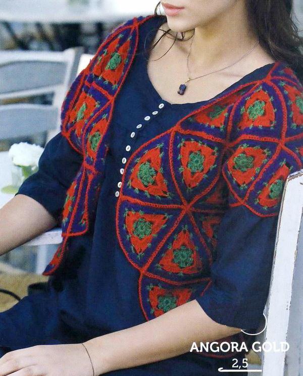 Crochet Bolero using Triangular Motifs
