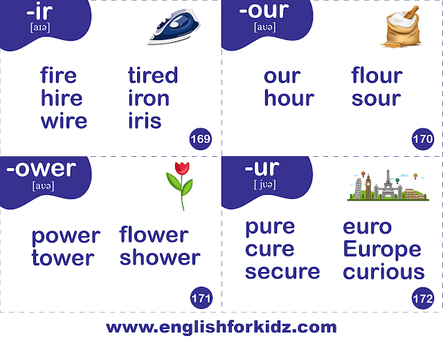 R-controlled sounds -- -ir, -ur, -ure, -ower, -our -- English phonics