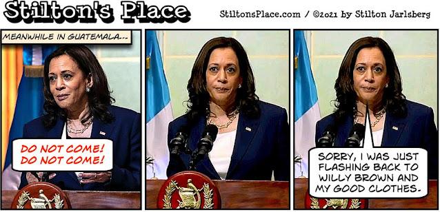 stilton's place, stilton, political, humor, conservative, cartoons, jokes, hope n' change, border, crisis, Guatemala, Kamala, Harris, Willy Brown, sex