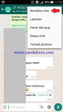 cara admin menghapus chat grup whatsapp