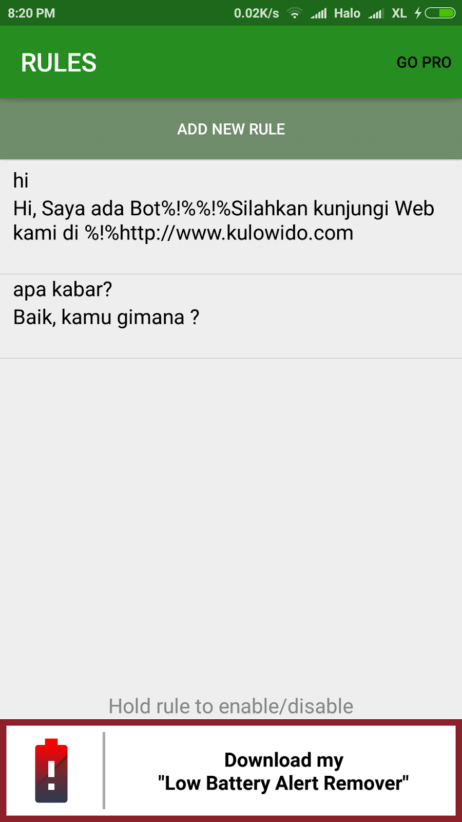 Whatsapp Bot Auto Reply Messages - Kulo Wido
