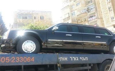 obama limo towed tel aviv
