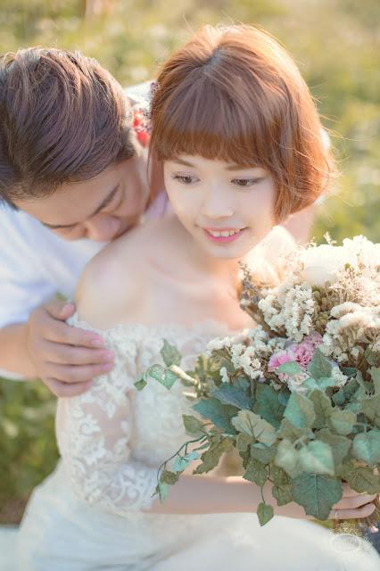 輕婚紗方案 國內婚紗 浪漫風格 海邊夕陽婚紗 陽明山 逆光婚紗 台北婚紗推薦 短髮新娘