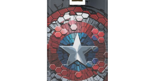 Captain America Hexagonal Ink Splatter Shield Luggage Tag