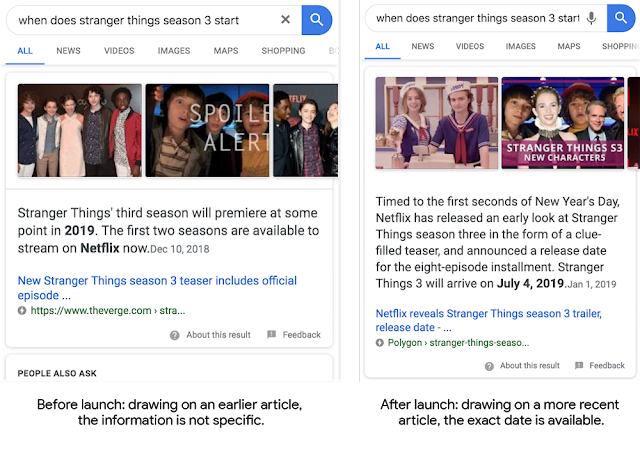 Ou lorsque des informations plus précises sont disponibles pour un sujet, Google veut afficher les nouvelles informations.