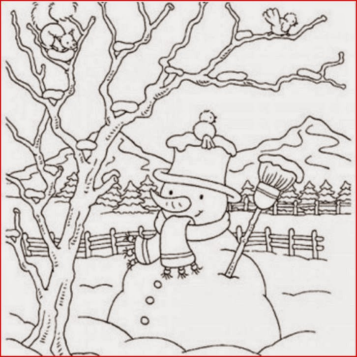 coloring pages winter scene - photo#37