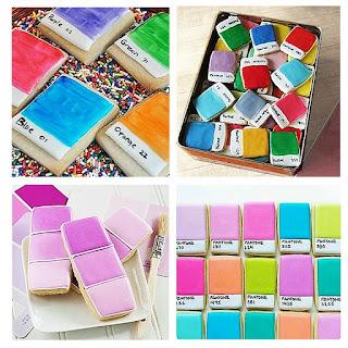 Pantone color paint chip cookies, paint chips, colorful, colorful Christmas cookies