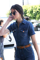 Kendall Jenner in a denim jumpsuit out and about in LA