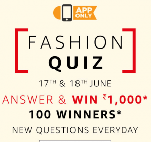 Amazon Fashion Quiz - Answer and Win Rs.1000 Amazon Pay Balance