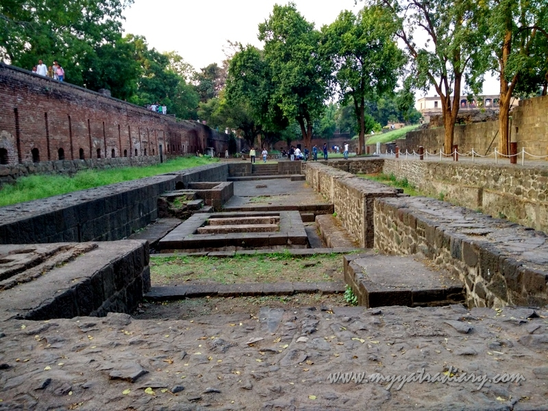 Stone foundation remnants, Shaniwar wada fort, Pune