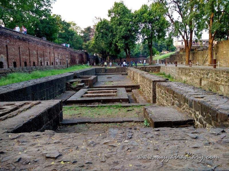 Stone foundation remnants, Shaniwar wada fort, Pune