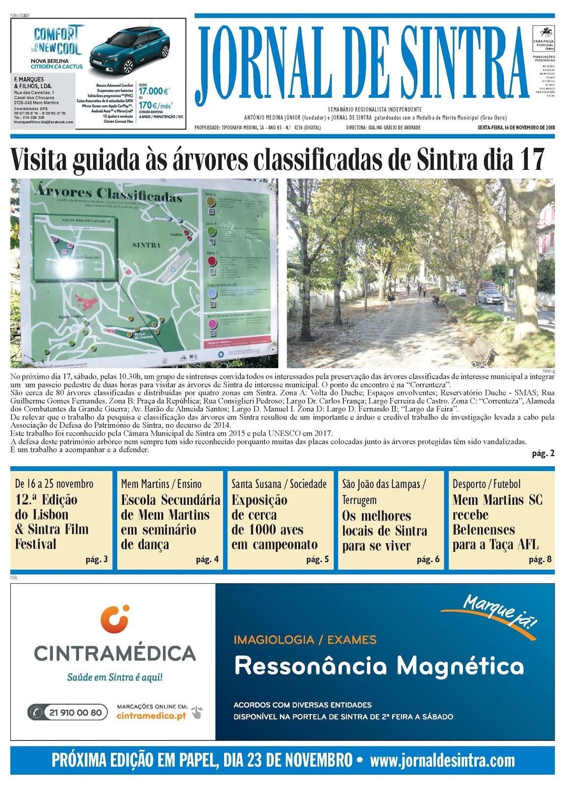 Capa da edição de 16-11-2018