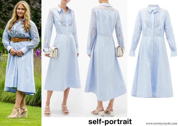 Princess Amalia the Princess of Orange wore Self-portrait Lace-panel Cotton Midi Shirt Dress