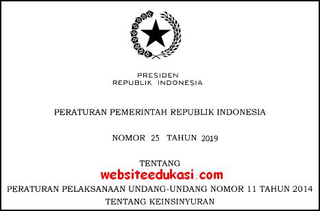 PP Nomor 25 Tahun 2019 Tentang Keinsinyuran