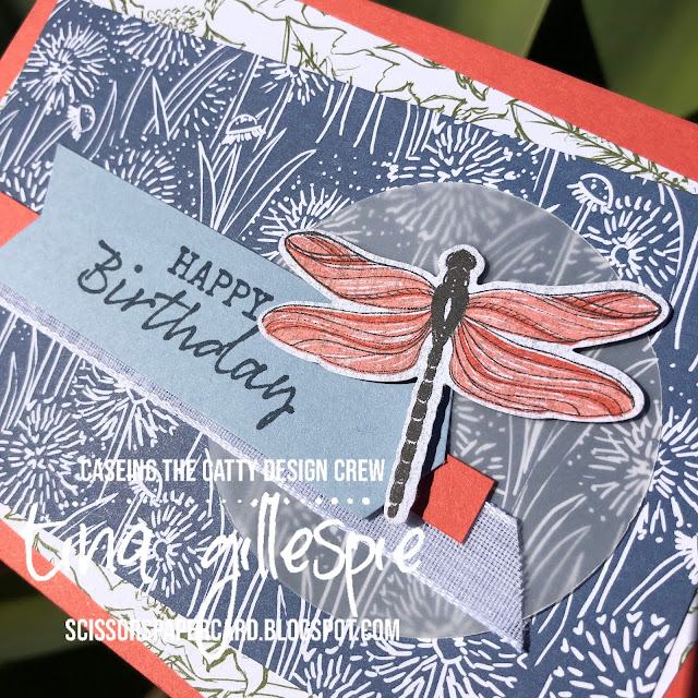 scissorspapercard, Stampin' Up!, CASEing The Catty, Dandy Garden DSP, Seaside Notions, Dragonflies Punch, Banners Pick A Punch