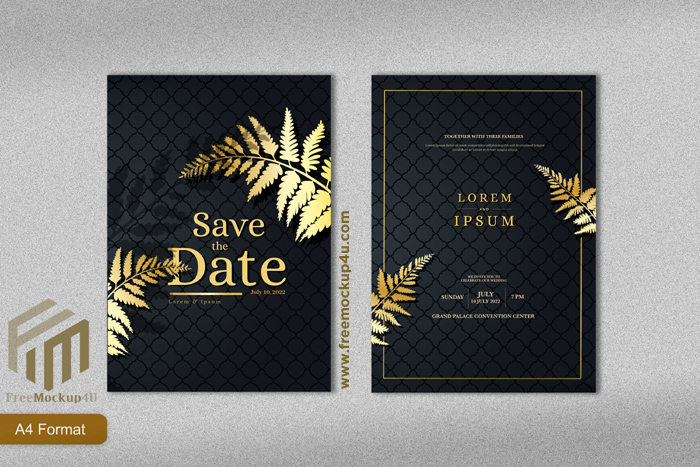 Luxury Wedding Invitation Template With Gold Tropical Leave