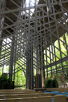 A photograph of the interior of Thorncrown Chapel in Eureka Springs Arkansas