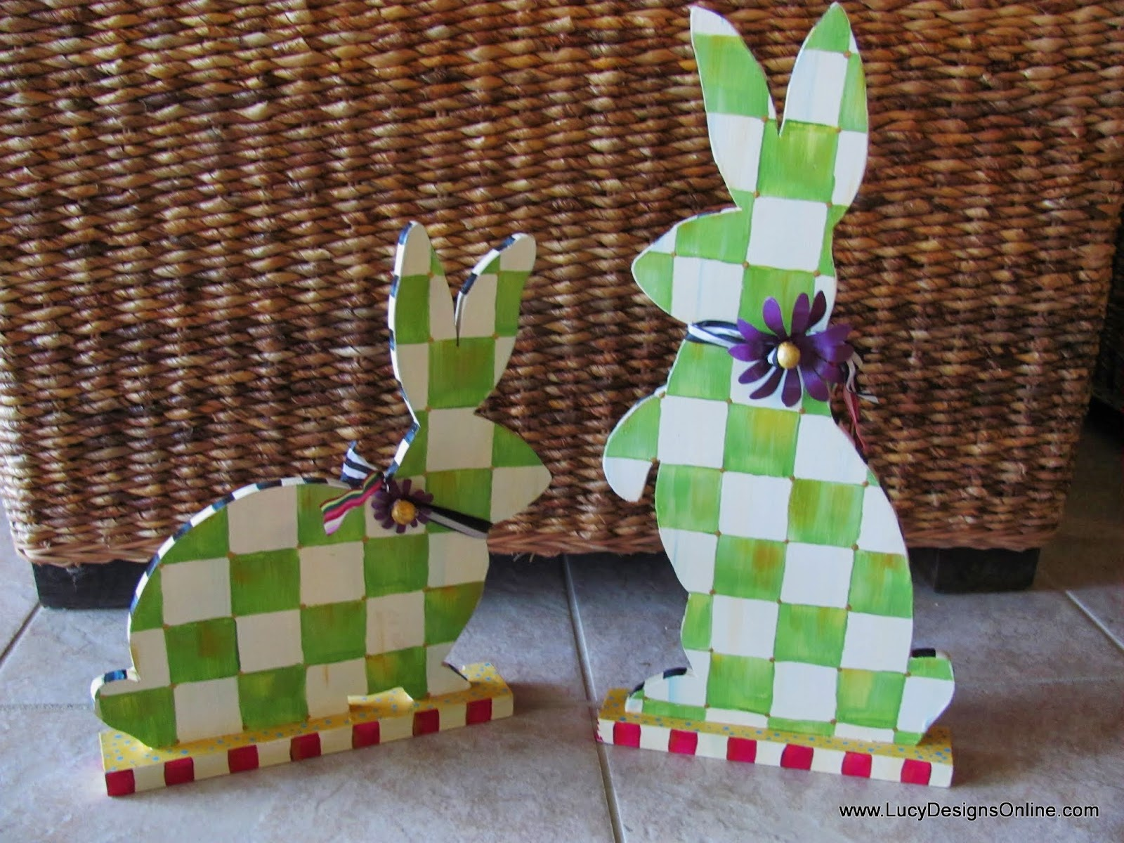 hand painted green and white checked bunny rabbit sculpture