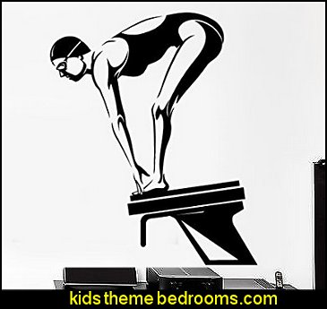 Wall Sticker Sport Swim Swimming Female Swimmer Dive Platform