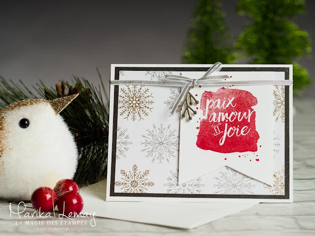 Carte de Noël Stampin' Up ! créée avec le jeu Que de bon voeux