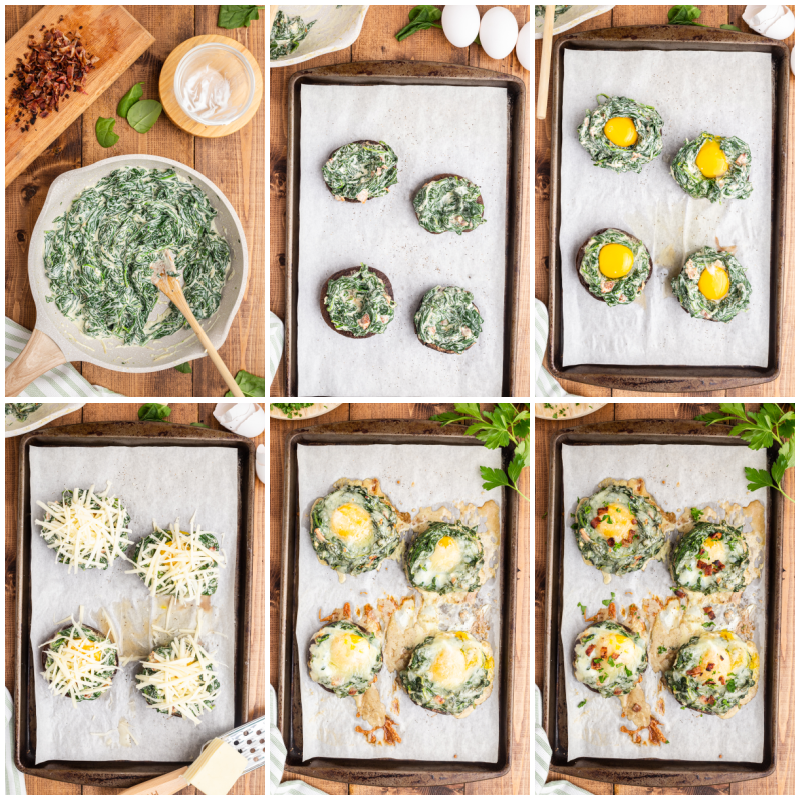 Six more photos of the process of making Keto Spinach and Egg Stuffed Mushrooms.