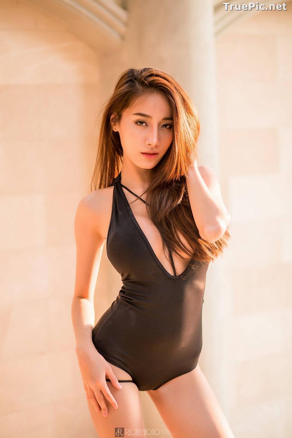 Image Thailand Model - Pichana Yoosuk - Black One Piece Swimsuit - TruePic.net - Picture-1